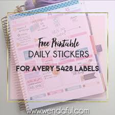 free daily stickers avery 5428 template print templates