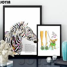 aliexpress com buy colour zebra pet art canvas poster print