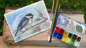 watercolor tutorial chickadee chickadee watercolor tutorial real time 3 colors beginner youtube