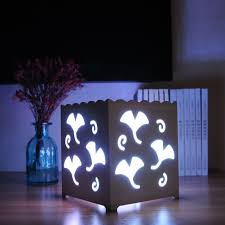 remote control rgb led white art duckweed shaped square desk lamp