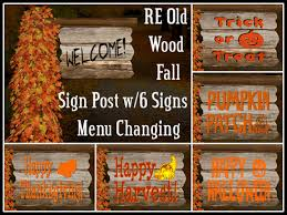 second marketplace re wood fall sign post w six signs