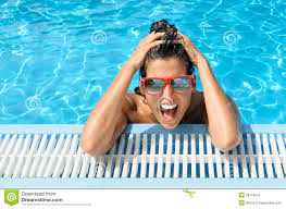 happy woman in resort pool summer vacation stock image image