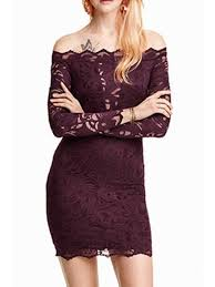 solid color lace off the shoulder long sleeves dress wine red