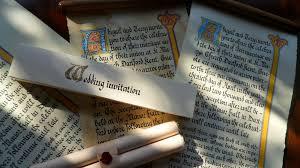 Scroll Invitation Rods Medieval Wedding Invitation Scroll The Victorian Scribe