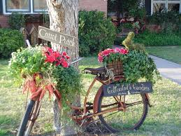 Fall Garden Decorating Ideas Eco Friendly Charming Front Yard Ideas With Bicycle Garden Decor