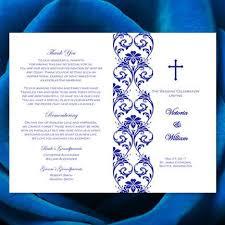 Wedding Program Catholic Catholic Church Wedding Program Damask Royal Blue Wedding