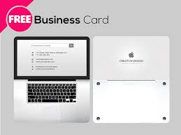 free psd laptop business card template by free download psd
