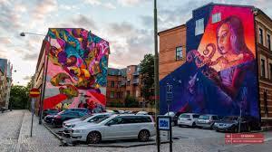 sweden wall mural on the houses at the intersection of wall mural on the houses at the intersection of grynbodgatan and ostindiefararegatan streets malmo