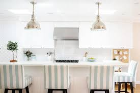 kitchen island raised breakfast with blue stripe barstools
