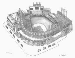 jacobs field pencil drawing cleveland ballparks picture progressive
