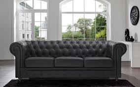 Leather Sofas Classic Scroll Arm Tufted Bonded Leather Chesterfield Large Sofa