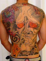 asian mask tattoo design on back photos pictures and sketches