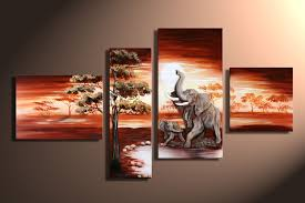3 piece art sets hand painted african elephant canvas paintings