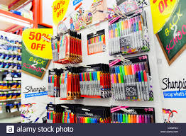 pens stationery office supplies for sale inside a staples shop