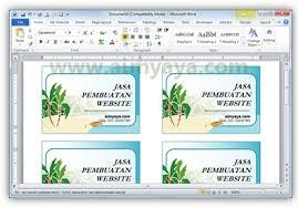 cara membuat kartu bisnis kartu nama dengan ms word 2010 cara