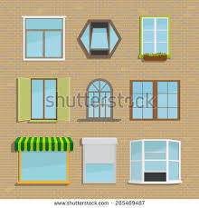 Different Types Of Window Blinds Set Icons Different Types Windows Construction Stock Vector