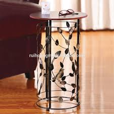 Accent End Table Rh 4648 Metal Circle Motif Accent End Table Or Wood Top Bird