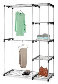 essential home silver metal closet double rod