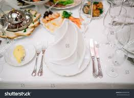 banquet wedding table setting plate spoon stock photo 368992595