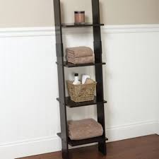 leaning linen tower wood bathroom organizer towel storage ladder