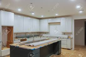 custom kitchen cabinets island custom kitchen cabinets in various stages of installation base