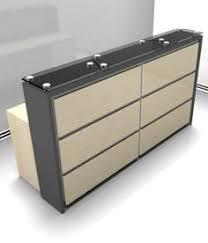 Keller Expandable Reception Desk 2012 Almond Reception Counter Desk W Glass Shelves And Display