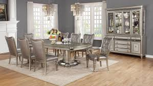 Extendable Dining Room Table And Chairs Danette Metallic Platinum Dining Room Set Dinning Rooms