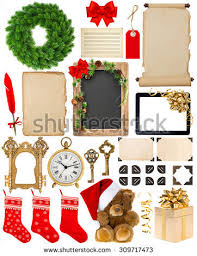 Christmas Decorating Wreath Old Book Pages by Scrapbook Elements Vintage Design Vector Set Stock Vector 87425039