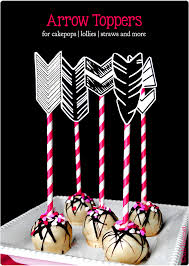 printable arrow feathers to add to cake pops straws lollies and