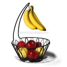 fruit basket with banana holder chrome metal wire hanger 14 76