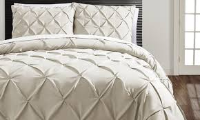 Pinched Duvet Cover Carmen Pinch Pleat Duvet Cover Set 3 Piece Groupon
