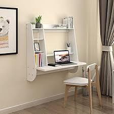 wall mounted desk amazon amazon com devaise wall mounted floating desk with storage white