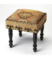 kilim look footstool accent side table