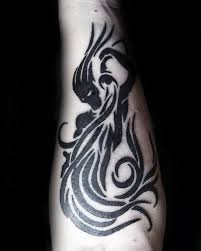 tribal aquarius inner forearm black ink