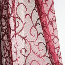 Sheer Maroon Curtains Lace Curtain With Cool Patterns Sheer Curtain
