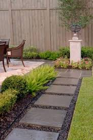 Backyard Walkway Ideas by Cement Block Tiles Bordered By White Pebbles For A Simple Pathway