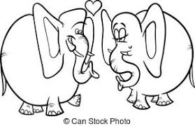 elephant love coloring page students couple in love coloring page black and white vector