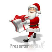 animated santa santa running with present