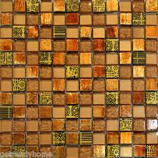 sample decor insert golden brown orange metallic glass mosaic tile