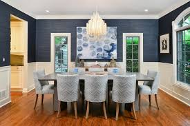 transitional blue dining room has asian and coastal decor linc