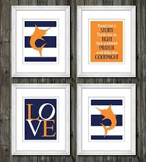 Fish Nursery Decor Navy Blue And Orange Fish Theme Nursery Marlin By Customedgestudio