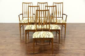 midcentury modern set of 6 oak 1960 vintage dining chairs signed