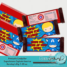 superheros captain america inspired printable candy bar wrapper