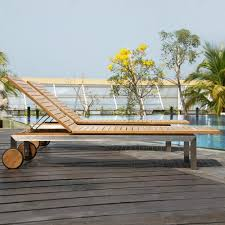 Outdoor Wood Chaise Lounge Siro Teak And Stainless Steel Outdoor Chaise Lounge Chair Outdoor