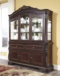 Display Dishes In China Cabinet Dining Rooma Hutch Ashley Furniture Larchmont Buffet With Corner