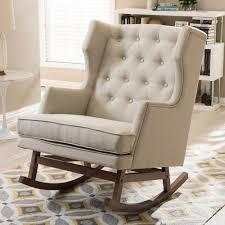 baxton studio iona mid century beige fabric upholstered rocking