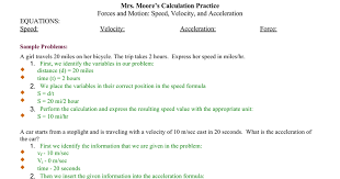 Speed Velocity And Acceleration Calculations Worksheet Answers Reteach Speed Velocity Acceleration W Answers Docs