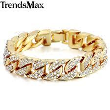 cuban bracelet images 14mm men 39 s hip hop miami curb cuban bracelet gold silver iced out jpg