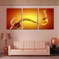 Living Room Art Canvas by 3 Piece Wall Art Picture Wine Splash Wall Art Canvas Oil Painting