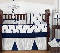 Sweet Jojo Designs Crib Bedding Navy And White Woodland Deer Baby Bedding 9pc Boys Crib Set By